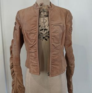 Tan Leather Fitted Jacket